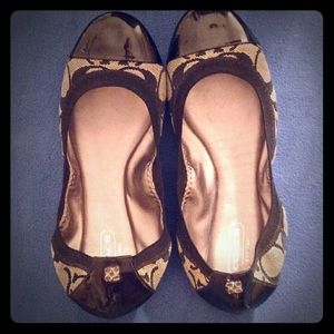 Vintage Well Taken Care of Black Coach Ballet Shoe